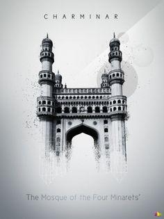365 Concepts (Charminar) #abstract #rupinder #white #365 #india #design #charminar #black #concepts #illustration #poster #singh