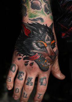 wolf hand tattoo herb auerbach #tattoo #hand #wolf