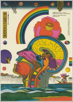 6th Contemporary Japanese Sculpture Exhibition poster, 1975 by Kiyoshi Awazu #graphic design #design #japan #anatomy #rainbow #head #colour