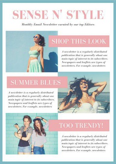 Pink and Light Blue Bordered Email Newsletter