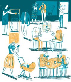 Oh Comely Magazine - David McMillan Illustration #society #reastaurant #illustration