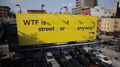 Outdoor criativo, Diferença de letras #billboard #street art #graffiti #yellow