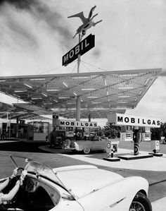 Mobil Gas Station by Julius Shulman, 1956 (via eat tarantula / melisaki)The greatest architecture photographer in history. #1950s #shulman #julius #architecture #gas #stations