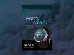 Studiojq2014_global-smart-watch_outdooradvertising_shot #smartwatch #weather #ux #iwatch #ui #clean #concept #gif #watch #wristwatch #advert #advertsiing