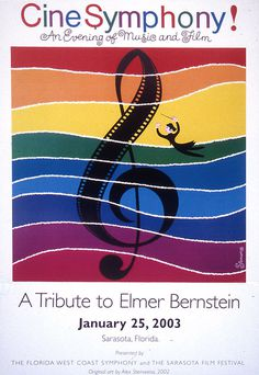 design by Alex Steinweiss, c. 2003 #colors #treble #clef #music #film #elmerbernstein #sarasota #conductor #composer