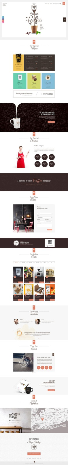 Website Template for Coffee Shop #website #coffee