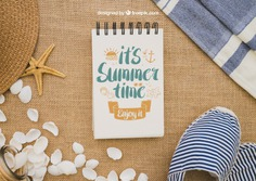 Summer concept with notepad Free Psd. See more inspiration related to Mockup, Summer, Template, Paper, Beach, Sea, Sun, Holiday, Mock up, Decoration, Pineapple, Decorative, Vacation, Templates, Shell, Summer beach, Notepad, Sunshine, Aloha, Up, Towel, Season, Concept, Starfish, Sea shell, Seashell, Shells, Composition, Mock, Summertime and Seasonal on Freepik.
