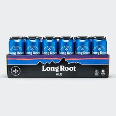 Brand identity, visual language and packaging design for Patagonia's Long Root Ale. The new brand features the iconic Patagonia color palette alongside the 'Fitzroy' mountain logo which wraps seamlessly around the individual cans and packaging.