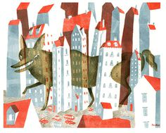 JooHee Yoon #illustration #wolf #street #houses #creature