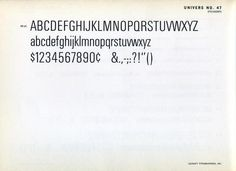 Univers 47 type specimen