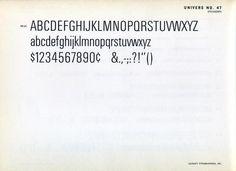 Univers 47 type specimen #type #specimen #typography