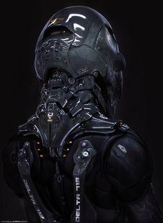 Pilot by Bulgarov #futurism #carbon #fibre #gear #pilot #3d