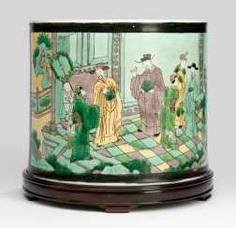 Very rare 'Famille jaune'-brush Cup with a court scene #Sets #Tea sets #Porcelain sets #Antique plates #Plates #Wall plates #Figures #Porcelain figurines #porcelain