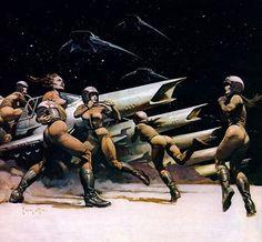 L2D #galactica #space #concept #frank #attack #art #battlestar #frazetta