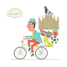 Biking in Milan - Mauro Gatti's House of Fun #man #illustration #milan #bike