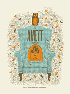 AVETT BROTHERS -CHAIR | Limited Edition Gig Posters Archives - Methane Studios #methane #screen print #illustration #owl #chair #vintage #bi