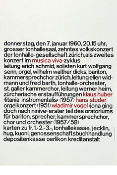 Josef Müller-Brockmann MUSICA VIVA 10 VOLKSKONZERT 1960 [ 127CM X 90CM ] via www.blanka.co.uk