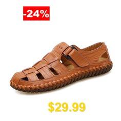 Men #Stylish #Breathable #Plus #Size #Leather #Sandals #- #BROWN