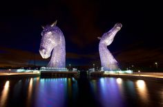 Enormous Horse Head Sculptures Illuminate the Scottish Skyline at Night #sculptures