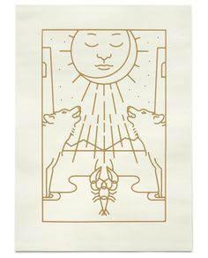 Silkscreened Tarot Interpretations by Hayden Davis #silkscreen #line #wolf #poster #tarot #moon