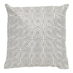 Imogen Silver Circle Stitch Linen Square Cushion, 45 cm