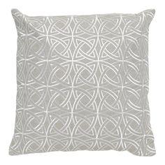 Imogen Silver Circle Stitch Linen Square Cushion, 45 cm
