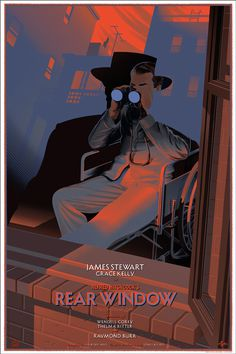 Rear Window (Durieux) #illustration #film #posters #murder #window #hitchcock #rear window #spy #voyeur #binoculars #james stewart