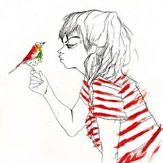 illustrations on Behance #ink #red #woman #bird