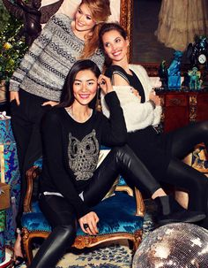 Christy Turlington, Doutzen Kroes & Liu Wen by Alexi Lubomirski for H&M's Christmas Campaign #fashion #model #photography #girl