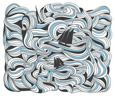 (1) Daniela Salgado / Pinterest #white #print #sea #voyages #boat #art #blue