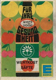 Free Flavour » Vintage Edeka Drink Matchbox Advert #apple flower fruit