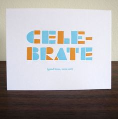 Lulu Dee Greeting Card Line - FPO: For Print Only #orange #letterpress #celebrate #blue #typography