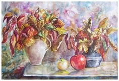 Double autumn bouquet still life painting for kitchen