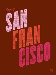 Enjoy San Francisco Poster #lines #red #illustration #poster #typography