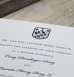 Scriptura   Engraved Family Crest Rehearsal Dinner Invitation