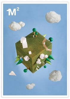 Un metro Cuadrado | Sublima Comunicación #model #clouds #sublima #illustration #poster #cube
