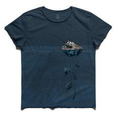 #alone İsland #dark blue #tee #tshirt #alone #Platon #sea #fishing #explorer #island