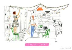 girls_illustrated_godfun #couple #house #lights #illustration #lamps #fun