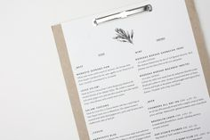 Food& on Behance #binding #cardboard #branding #menu #identity #passport #clipboard #typography
