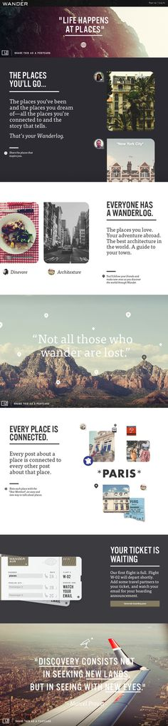 Wander Product Summary Page on Behance #website #travel