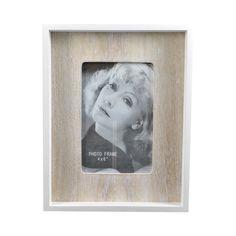 White/Natural MDF Box Photo Frame, 18cm x 23cm