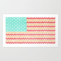 Zig Zag Flag. Art Print. #pattern #print #design #retro #color #stripes #illustration #stars #chevron #vintage #art #poster
