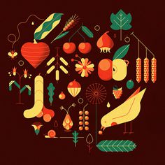 Andrea Manzati #illustration #geometric #texture #bird #vectors #vegetables