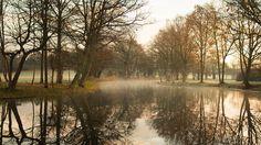 Calm river at sunrise #three #photo #river