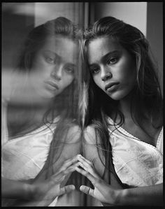 Film Photo By: Kevin Willems; http://off-the-wall-b.tumblr.com/ #white #woman #and #black #reflection #lady