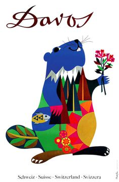 Davos poster by Donald Brun. via #illustration #animal