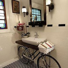 Bicycle Into Sink Stand #interior #design #decor #deco #decoration