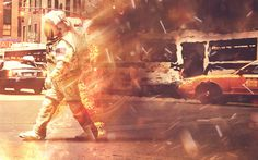 Astronaut on Fire, Issael Guzmán :: RAWZ #bizarre #astronaut #photo #space #fire #manipulation