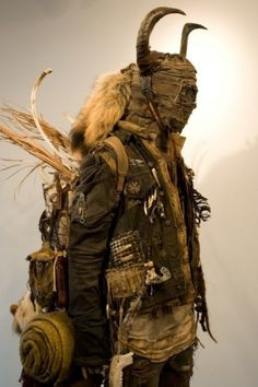 A FOREST #folklore #clothes #fur #backpack #mask #horns #fashion