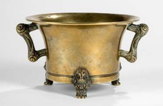 Gold colored incense burner, Bronze on three short legs in fabulous animal shape